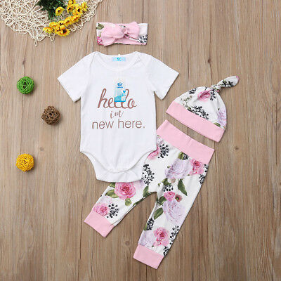 USA 4Pcs Newborn Baby Girls Romper Tops +Floral Pants Hat Outfits Clothes 0-18M