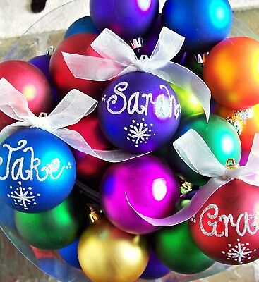 Personalised Christmas Baubles Balls 70mm Handpainted Xmas Ball Gift 7cm Bauble