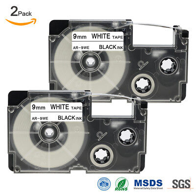 2 Pack Compatible Label Tape Replacement for CASIO XR-9WE Black on White 9mmx8m