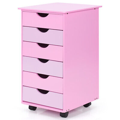 Beau 6 Drawer Wood Mobile File Cabinet Rolling Organizer Storage Office Home Pink