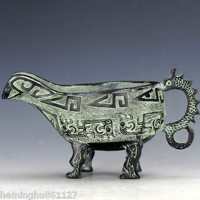 Chinese Antique Bronze Hand Carved Dragon Motif Wine Goblet