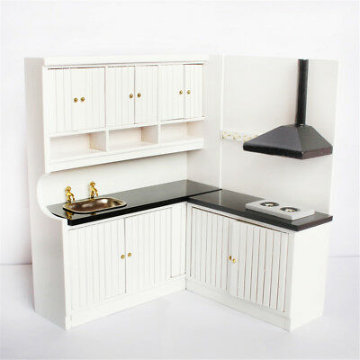 1:12 Scale Wooden Doll House Miniature Kitchen Furniture Set Simulation Model