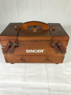 Vintage Singer Sewing Box Mini Wooden Accordion Style