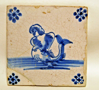 Antique circa 1650 Blue and White Dutch Delft Sea Creature Mermaid Tile