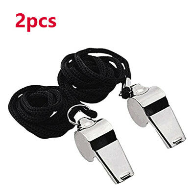2pcs Referee Coach Whistle Stainless Steel Extra Loud Whistle For School Sport F