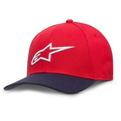 New Adult ALPINESTARS Cap Ageless Curve Hat Red Navy Motocross Enduro S/M L/XL