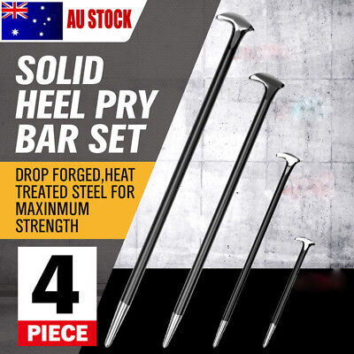 4 Piece Heavy Duty Solid Steel Pry Bar Set Rolled Heel Prying Pinch Lever Bars