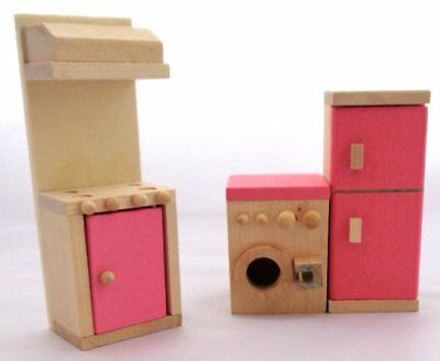 Wooden Doll House kitchen pink Furniture Vintage collectable 1:12 scale