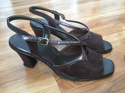f11715ab11f40 Women's vintage 70s Hush Puppies strappy chocolate brown suede heel shoe  size 6