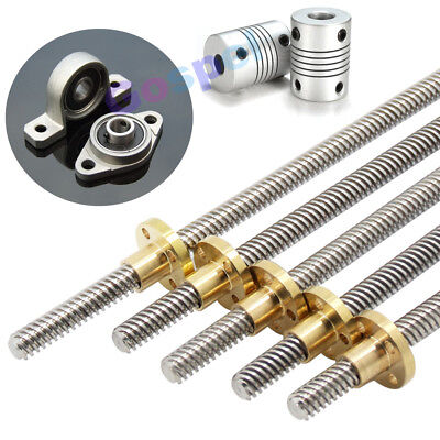 T8 Pitch 2mm Lead 2/ 8mm Rod Stainless Lead Screw Linear Rail Bar Shaft +T8 Nut
