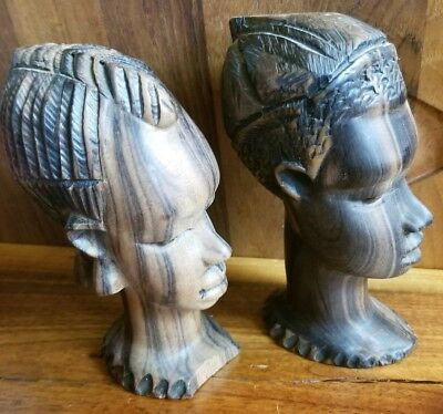 Striped Ebony Wood Sculptures African Heads  Hand Carved Vintage Tribal Statues