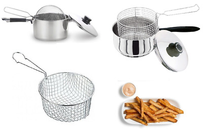 Chip Pan Basket & Stainless Steel Chip Pan With Lid Fryer Fries 20/22cm