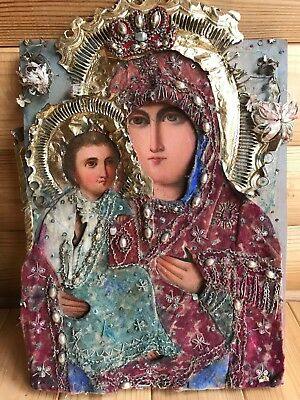 """Antique 19c Russian Orth Hand Painted Wood Icon """"Mother of God """"Pravoruchitsa"""""""