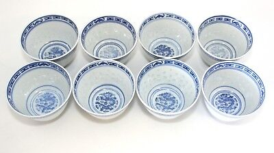 Chinese Blue White Porcelain Dragon Rice Eyes Tea Cups Teacups (8)