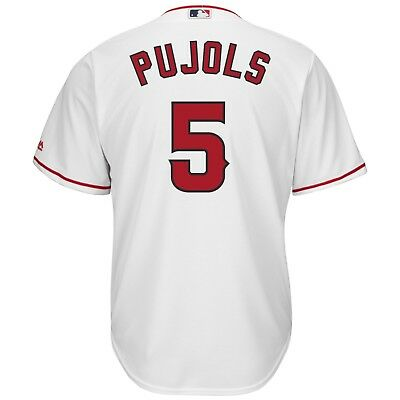 Youth L Los Angeles Angels of Anaheim Majestic Rep Cool Base Home PUJOLS 5 M153