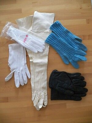 5 Pairs Vintage Woman's Gloves Cotton Leather Knit Great Condition