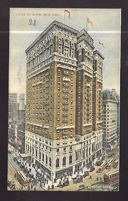 Vintage Postcard Hotel McAlpin New York City Trolleys Old Cars Elevated Train