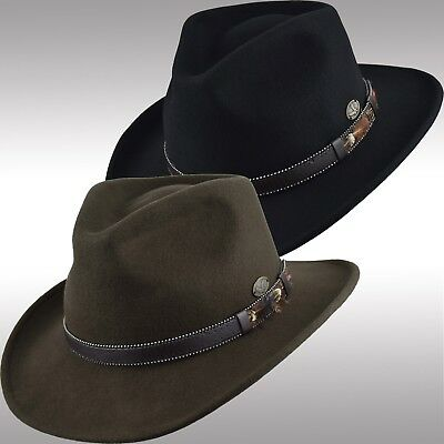 765bc331a64 Men s Premium Felt Wool Outback Fedora Indiana Jones Style Crushable Hat  Fhe58