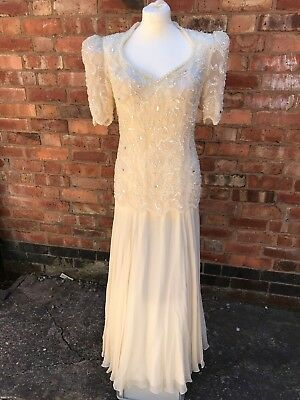 Stunning Vintage Wedding Dress, Heavily Beaded in Ivory -  ** New without tags**