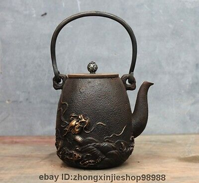 "10"" Archaic Japanese Iron Silver Gilt Sea Dragon King Flagon Kettle Wine Tea Pot"