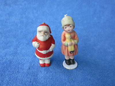 Antique German Bisque Santa Claus Nodder Christmas Miniature Doll &  One Modern