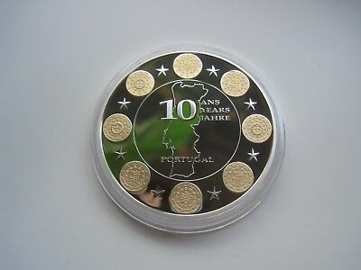 Medaille 10 Jahre Euro Portugal ,40mm, ca.28gr.   #2020