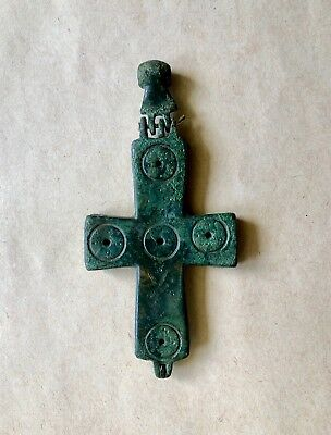 BYZANTINE BRONZE CROSS ENCOLPION (10th-12th c.). A RARE PIECE IN GOOD CONDITION!