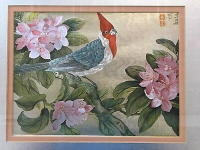Ann Japanese Silk Bird On Blossom Tree Embroidery Tapestry Painting  L1
