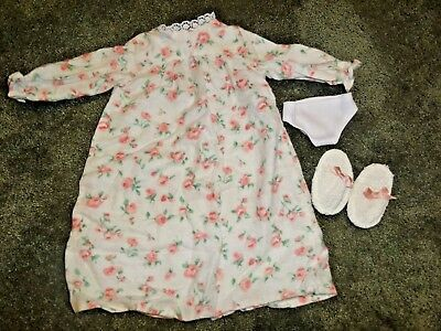 Magic Attic Doll Rose's Nightgown Flannel Floral Pink Retired with slippers