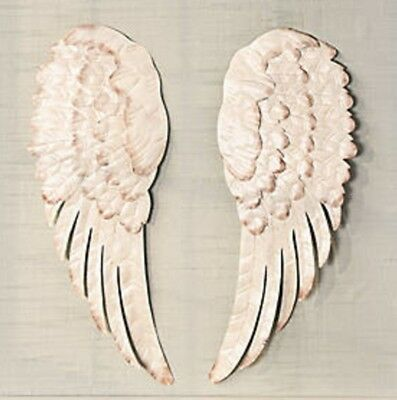 Metal Angel Wings Wall Decor Set Of 2 Vintage White Inspired BEAUTIFUL NEW