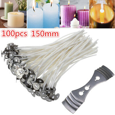 150mm (15cm) Candle Pre-Waxed Cotton Wicks Pre-Tabbed For Home Candle Making