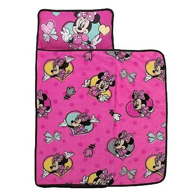 Disney Minnie Mouse Pink Kids' Toddler Nap Mat With Built in Pillow & Blanket