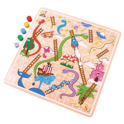 Bigjigs Toys Wooden Traditional Snakes and Ladders Board Game Play Set