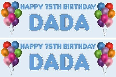 PERSONALISED HAPPY 75TH BIRTHDAY BANNER X 2 BALLOONS Blue Text