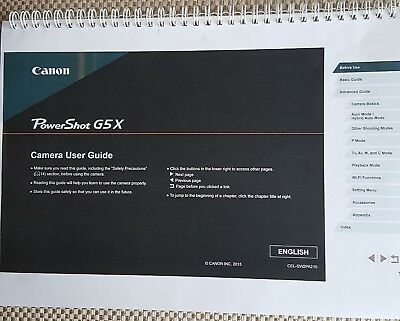 PRINTED Canon Powershot G5X Full colour  guide Instruction manual  217 pages A5