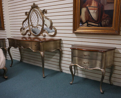 Amazing French Vanity with Mirror and 2 matching Side night tables silver leaf