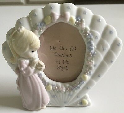 1992 Precious Moments Porcelain Photo Frame Girl with Pearl~New in Box~Rare