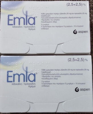 2 closed box emla numbing cream 5x5gr tubes + patches