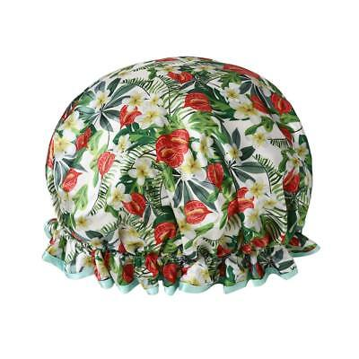 Hicollie Waterproof Elastic Band Shower Cap Double Layer Green Floral Flower Sa