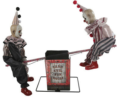Halloween Animated CLOWNS ON CARN EVIL SEESAW FUN HAUNTED HOUSE Decoration Prop