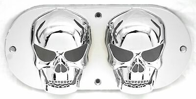 Oval light cover dual skull chrome plastic for Peterbilt Kenworth Freightliner