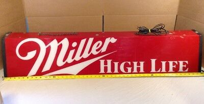 Vintage Miller High Life Hanging Pool Table Bar Light- 48x10x11 Red/White