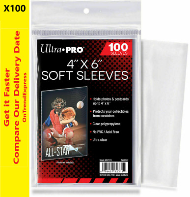 "100 ct Ultra Pro 4"" x 6"" Card Protector Soft Sleeves, Cards, Photos & Postcards"