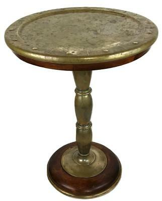 Antique European Dutch English Arts & Crafts Brass Wood Pedestal Side Lamp Table