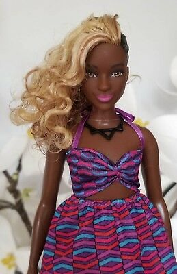 BARBIE Fashionistas 57 Zig Zag Dark Skin Doll Curvy AA Girl Doll HTF Unique