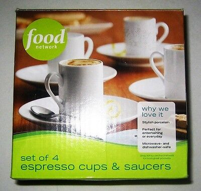 Food Network Espresso Cups and Saucers Set of 4 White Brand New in Box.
