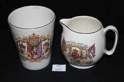LMAS ~ Royal Winton Silver Jubilee King George & Queen Mary 1935 Creamer & Cup