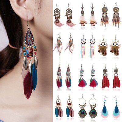 Boho Womens Feather Owl Leaf Tassel Earrings Long Dangle Wedding Bride Jewelry