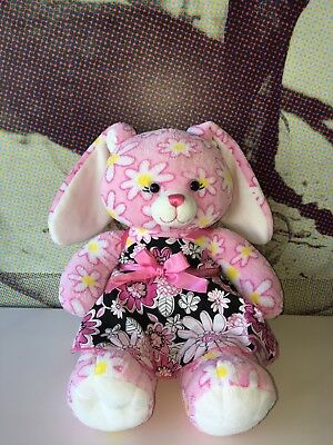 "Build A Bear Pink Daisy Flower Bunny Rabbit with Dress 16"" Plush"