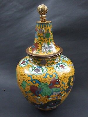 Antique 11''Old Chinese Cloisonne Lidded Jar  Colorful Foo Dogs & Flowers Motifs